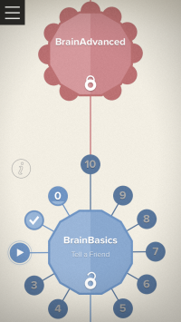 A look at the features of the new Brain+ BrainCoach. The picture displays an unlocked BrainBasics area and a locked BrainAdvanced area.