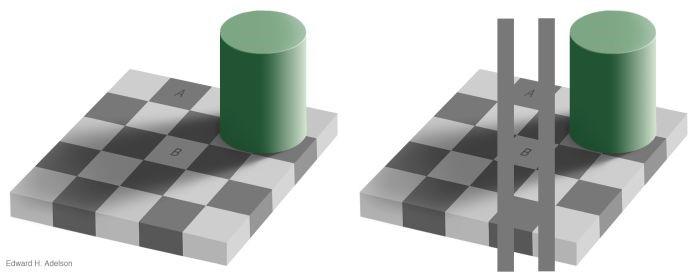 Adelson-illusionen. Felt A og felt B har præcis samme farve. Tjek bare efter i et tegneprogram!