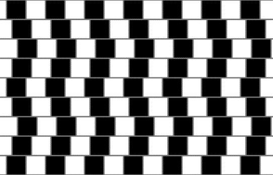 The café wall illusion. All the horizontal lines are parallel.