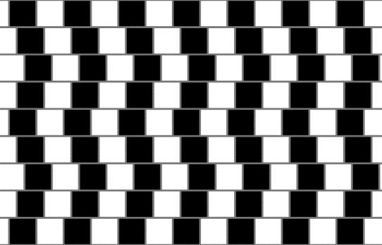 Café wall-illusionen. Alle de vandrette linjer er parallelle.